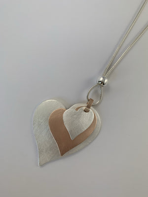 Rose Gold and Silver Heart Trio Necklace