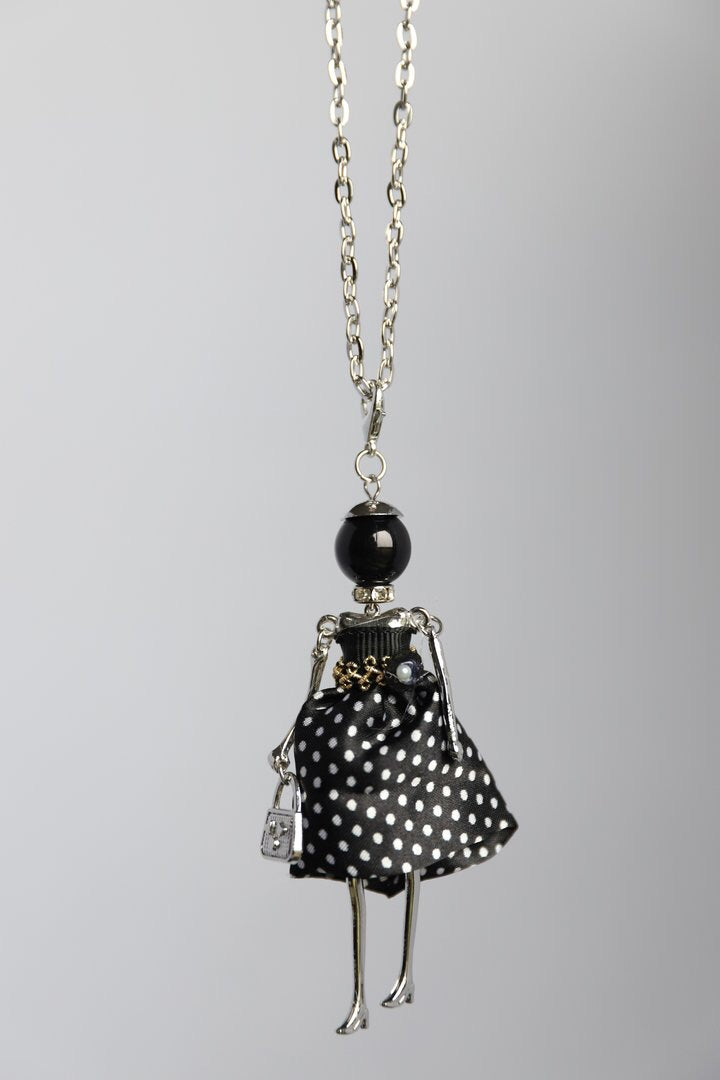 Polka Dot Dress French Doll Necklace