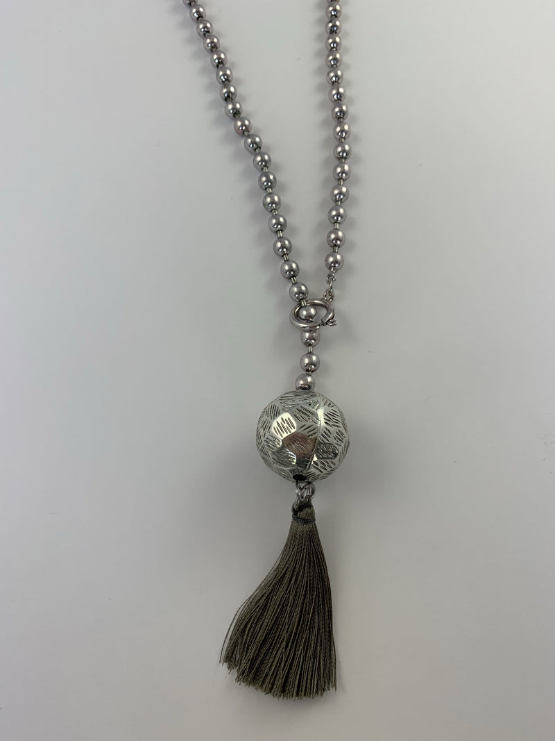 Adjustable Beaded Tassel Necklace