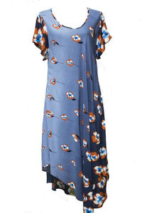 Sleeved Swing Dress Abstract Flower