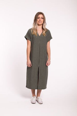 V Neck Knit Maxi Dress