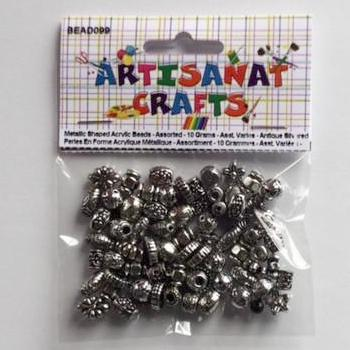BEAD099 Metallic Acrylic Beads Assorted Mixed Antique Silver 10 Grams