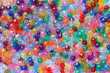 ZR104-99 Faceted Plastic Beads Transparent 4 mm. Multi color 125 Pieces
