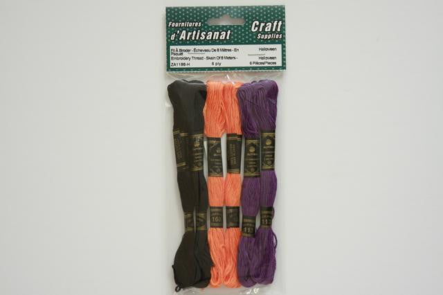 ZA1188-H Embroidery Thread Skein Of 8 Meters X 6 ply Multi Color Halloween 6 Piece