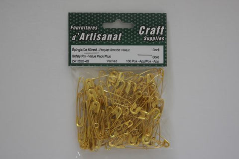 ZA1500-45 Safety Pins Assorted Mixed Golden 100 Pieces