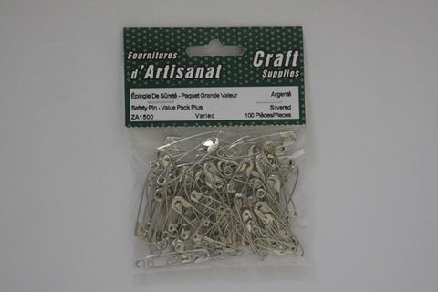 ZA1500 Safety Pins Assorted Mixed Silvered 100 Pieces
