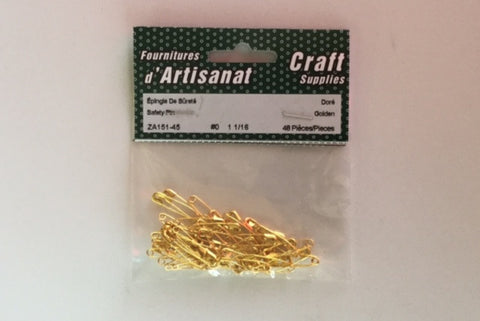 ZA151-45 Safety #0 Pins 1 1/16 inch Gold 48 Pieces
