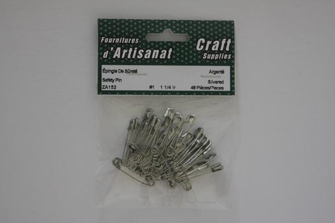ZA152 Safety #1 Pins 1 1/4 inch Silvered 48 Pieces