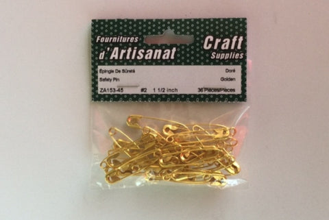 ZA153-45 Safety #2 Pins 1 1/2 inch Gold 36 Pieces