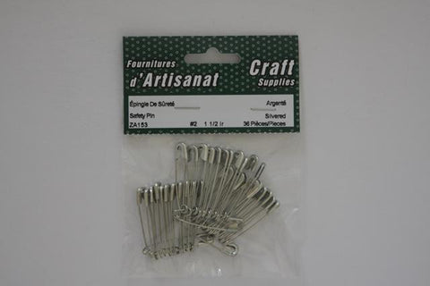 ZA153 Safety #2 Pins 1 1/2 inch Silvered 36 Pieces
