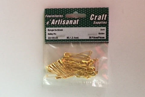 ZA155-45 Safety #0,1,2 Pins Assorted Gold 36 Pieces