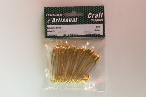 ZA156-45 Safety #4 Pins 2 1/4 inch Gold 24 Pieces