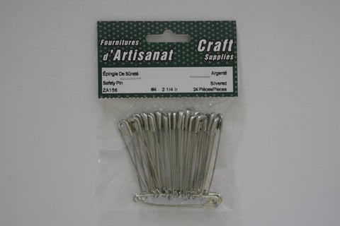 ZA156 Safety #4 Pins 2 1/4 inch Silvered 24 Pieces