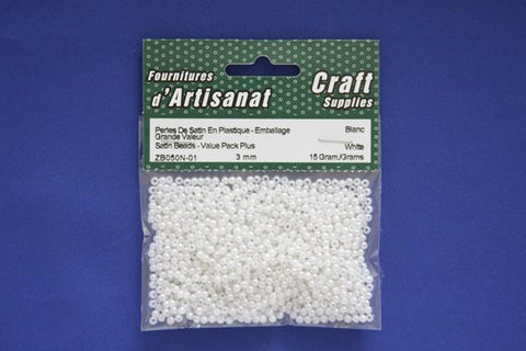 ZB050N-01 Satin Beads 3 mm. White Pearled 15 Grams
