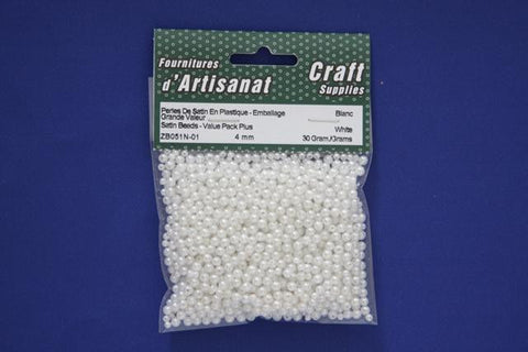 ZB051N-01 Satin Beads 4 mm. White Pearled 30 Grams