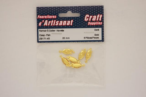 ZB171-45 Fish Clasp 20 mm. Gold 4 Pieces