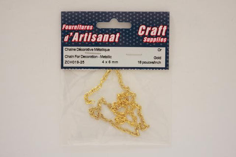 ZCH019-25 Chain For Decoration Metallic 4 x 6 mm Golden 18 inch