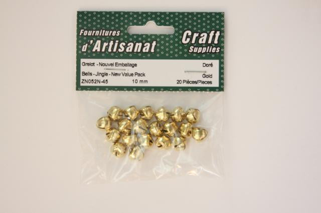 ZN052N-45 Jingle Bells 10 mm. Gold 16 Pieces