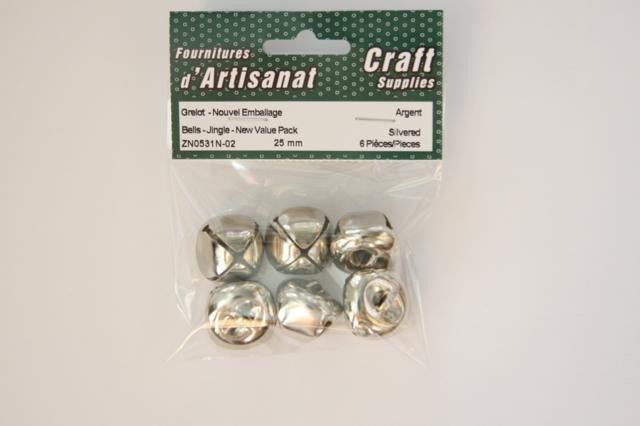ZN0531N-02 Jingle Bells 25 mm. Silver 4 Pieces