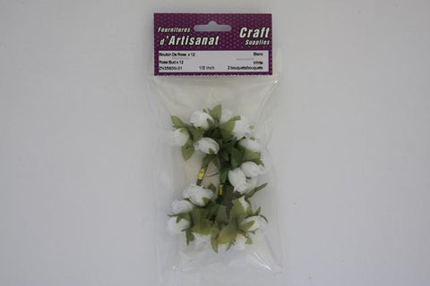 ZN3560N-01 Rose X 12 Buds 1/2 inch White 2 Bouquets