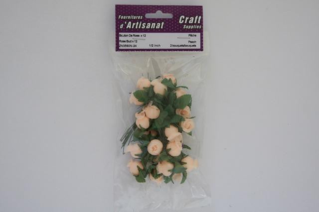 ZN3560N-24 Rose X 12 Buds 1/2 inch Peach 2 Bouquets