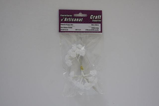 ZN3573-00 Mini Ribbon X 12 Roses 3/8 inch White-on-White 2 Bouquets