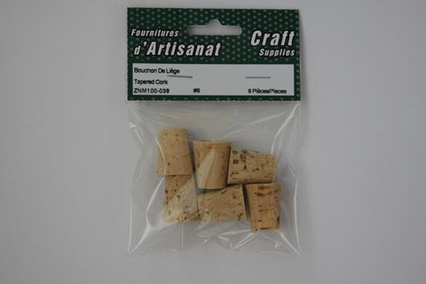 ZNM100-038 Tapered Cork #6 Natural 6 Pieces