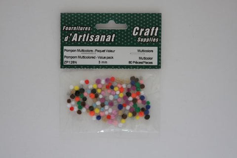 ZP128N Pompoms 3 mm. Multi color 80 Pieces