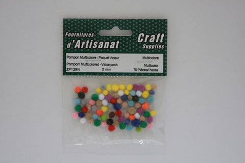 ZP129N Pompoms 5 mm. Multi color 70 Pieces