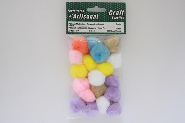 ZP1311-97 Pompoms 0.50 inch Pastel 40 Pieces