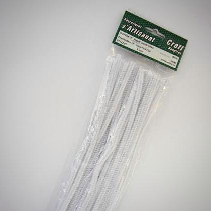 ZP142-01 Chenille Stem 6 mm. 12 inch White 36 pieces