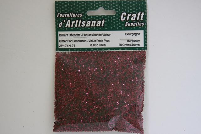 ZP174N-76 Glitter For Decoration 0.035 inch 30 Grams Burgundy