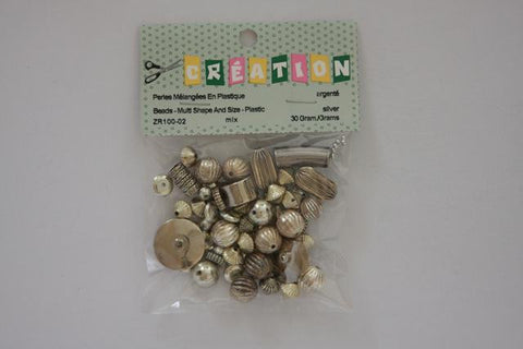ZR100-02 Beads Multi Shape And Size Plastic Assorted Silver 30 Grams