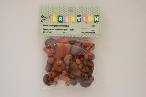 ZR100-33 Beads Multi Shape And Size Plastic Assorted Brown 60 Grams
