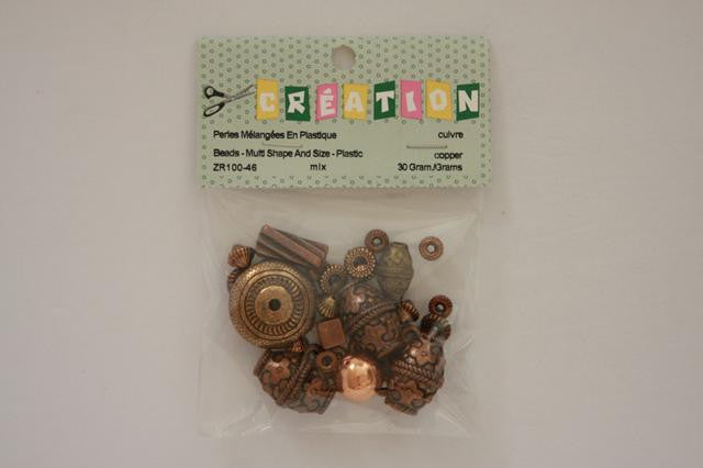 ZR100-46 Beads Multi Shape And Size Plastic Assorted Copper 30 Grams