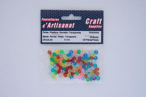 ZR206-99 Rondelle Beads Transparent 6 mm. Multi Color 125 pieces