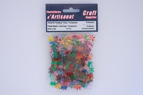 ZR412-99 Plastic  Beads Cartwheel Transparent 12 mm. Multi Color 40 Grams