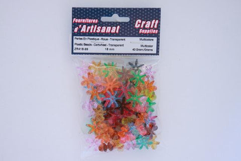 ZR418-99 Plastic  Beads Cartwheel Transparent 18 mm. Multi Color 40 Grams