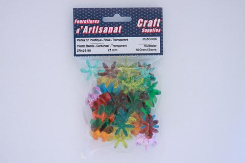 ZR425-99 Plastic  Beads Cartwheel Transparent 25 mm. Multi Color 40 Grams