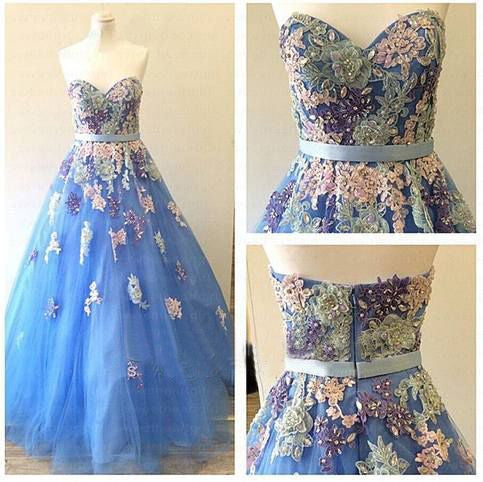 Blue Prom Dress,long Prom Dress,charming Prom Dress,A-line Prom Dress,sweetheart prom dress,PD071
