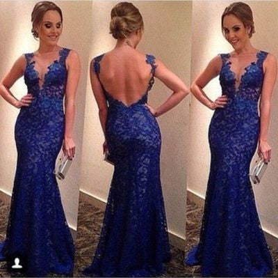 blue Prom Dress,long Prom Dress,lace Prom Dress,backless prom dress,mermaid prom dress,PD109