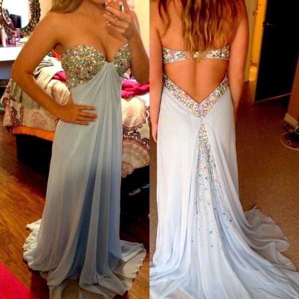 blue Prom Dress,long Prom Dress,backless Prom Dress,charming Prom Dress,evening dress,PD079