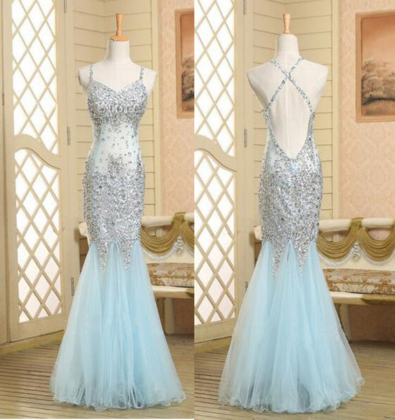 blue Prom Dress,long Prom Dress,beading Prom Dress,mermaid Prom Dress,tulle prom Dress, PD08