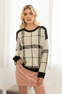 Black & Cream Plaid Cold Shoulder Sweater