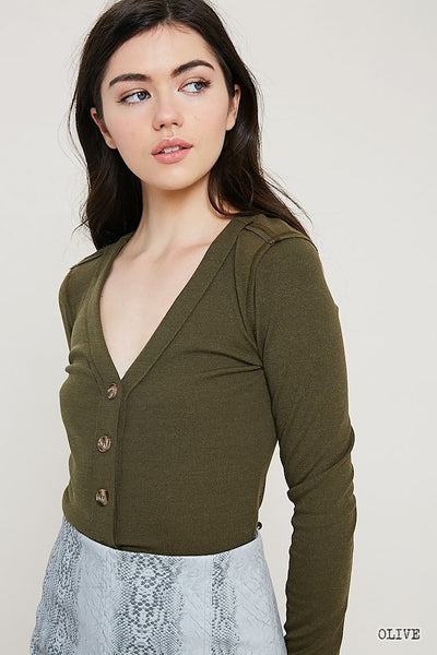 Button Down Ribbed Cardigan Top - Olive