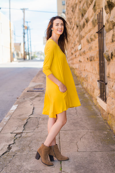 Ready for Anything T-Shirt Dress - Mustard