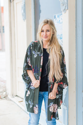 Floral Obsessions Kimono - Olive Mix
