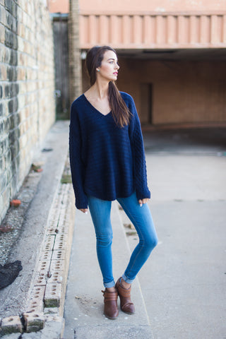 Navy Blues V-neck Sweater