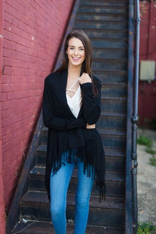 Point of Interest Fringe Cardigan - Black