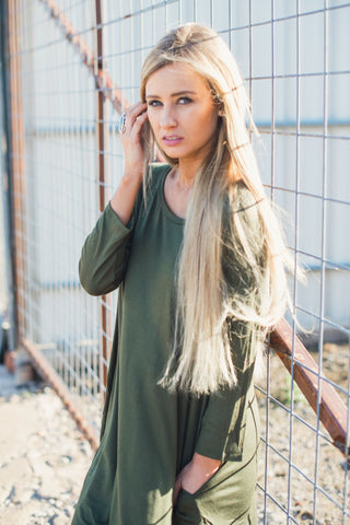 Ready for Anything T-Shirt Dress - Olive